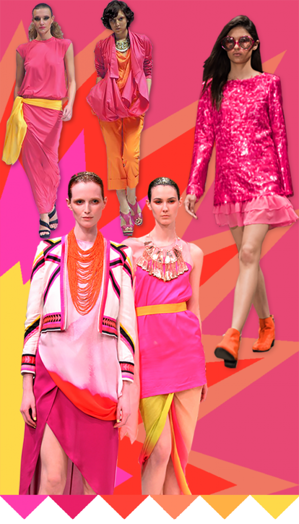 fashion, pink, hot pink, coral, ready-to-wear, catwalk, runway, apparel design, fashion design, colors, trending, trend forecasting, yellow, orange, fabrics, textiles, sheer, hot, energetic, print, dyes