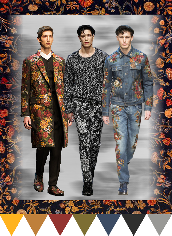 floral, embroidery, tapestry, traditional, fashion, trending, knits, wovens, print, screen print, jacquard, aw17, aw16, autumn, winter, runway, mensfashion, mensstyle, trend watch