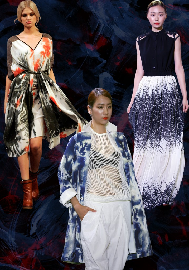 runway, prints, pattern, abstract, aw2015, winter, autumn, jackets, skirts, dresses, boots, fall, digital print, color, stormy